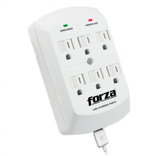 Forza Power Technologies Supresor de Pared FWT-760USB, 6 Contactos + 2x USB, 300J, 1875W