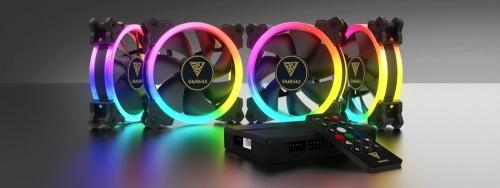Ventilador Gamdias AEOLUS M1 1204R RGB, 120mm, 1200 - 1500RPM - incluye 4 Ventiladores, AEOLUX Box II y Control Remoto