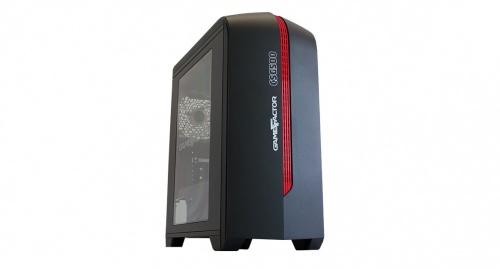 Gabinete Game Factor CSG500 con Ventana, Micro-Tower, Micro-ATX/Mini-ITX, USB 2.0/3.0, sin Fuente, Negro/Rojo