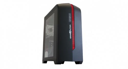 Gabinete Game Factor CSG500 con Ventana LED, Micro-Tower, Micro-ATX/Mini-ITX, USB 2.0/3.0, sin Fuente, Negro/Rojo