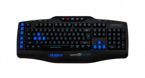 Teclado Gamer Game Factor KBG600 Alámbrico, Negro/Azul (Español)
