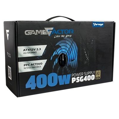 Fuente de Poder Game Factor PSG400 80 PLUS Bronze, 20+4 pin ATX, 120mm, 400W, Negro
