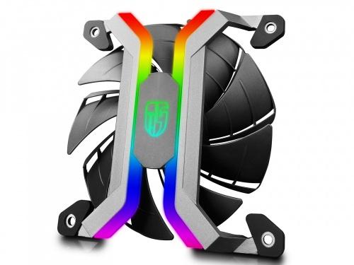 Ventilador Gamer Storm MF120S RGB, 120mm, 500 - 2000RPM, Negro/Plata - 3 Piezas