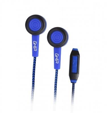 Ghia Audífonos Intrauriculares SPK-1417, Alámbrico, 1.2 Metros, 3.5mm, Negro/Azul