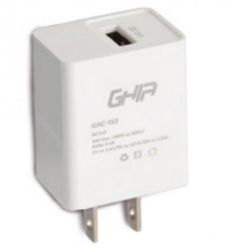 Ghia Cargador de Pared GAC-152, Carga Rápida, 9V, 1x USB 3.0, Blanco