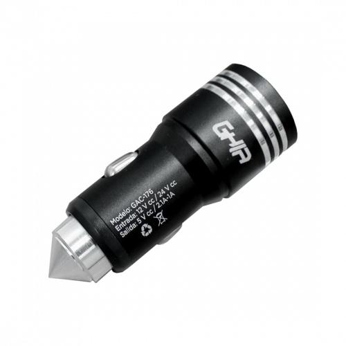 Ghia Cargador para Auto GAC-176, 5V, 2x USB 2.0, Negro