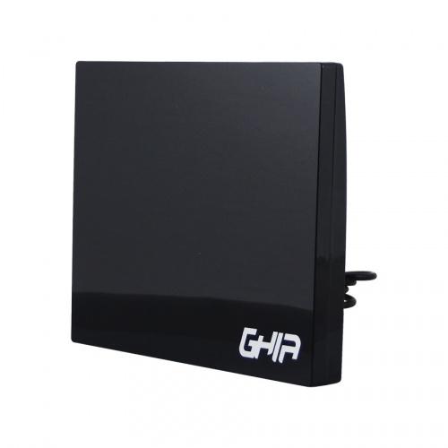 Ghia Antena para Televisión GANT-001 para Interiores, FM/UHF/VHF, Negro