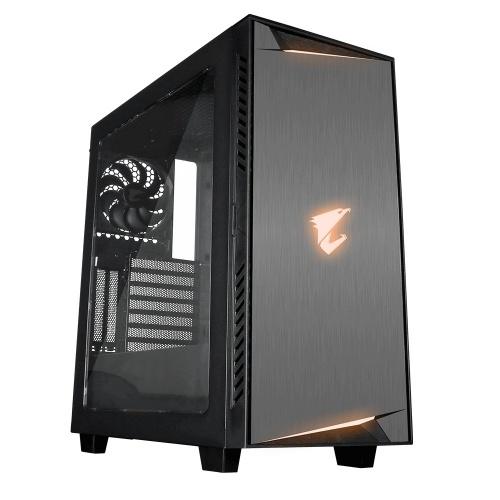 Gabinete AORUS AC300W LITE con  Ventana RGB, Midi-Tower, ATX/Micro-ATX/Mini-ITX, USB 3.0, sin Fuente, Negro