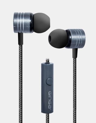 Ginga Audífonos Intrauriculares con Micrófono GI18AUD01-GR, Alámbrico, 1.2 Metros, 3.5mm, Gris