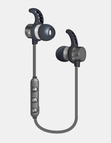 Ginga Audífonos Intrauriculares Deportivos con Micrófono GI18AUD01BT-GR, Inalámbrico, Bluetooth, Gris