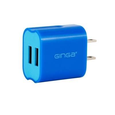 Ginga Cargador Cubo Spring de 2 Puertos USB 2.0, Azul-Azul Cielo