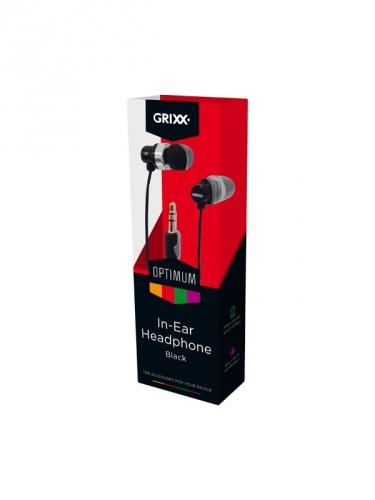 Grixx Audífonos Intrauriculares GROHU8001, Alámbrico, 1.2 Metros, 3.5mm, Negro