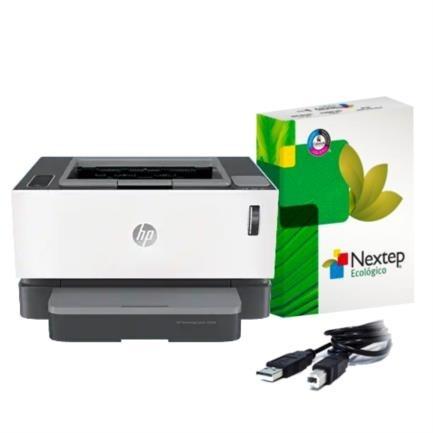 HP Neverstop Laser 1000a, Blanco y Negro, Láser, Print — Incluye Cable USB Vorago CAB-104 y Resma de Papel Copiadora Nextep Ecológico Carta C/500 Hojas