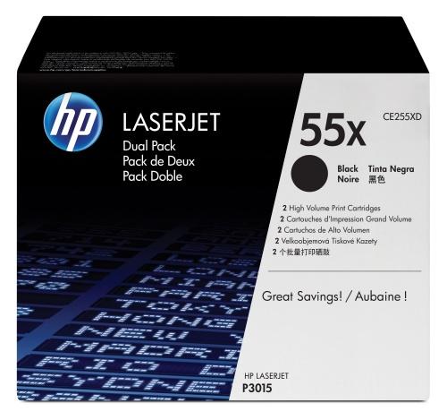 Tóner HP 55X Paquete Doble Negro, 2x 12.500 Páginas ― ¡Compra y recibe $385 pesos de saldo para tu siguiente pedido!