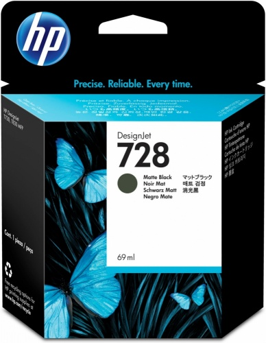 Cartucho HP 728 Negro Mate 69ml