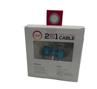 I Joy Cable USB Macho - Micro-USB/Lightning Macho, 1.8 Metros, Azul
