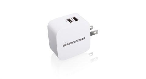 Iogear Cargador de Pared GPAW2U4, 5V, 2x USB, Blanco