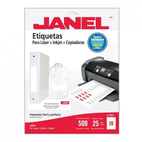 Janel Paquete de 500 Etiquetas Blancas de 25x102mm