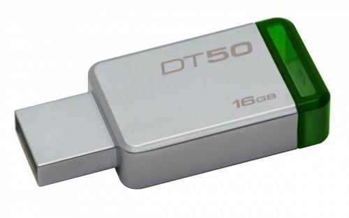 Memoria USB Kingston DataTraveler 50, 16GB, USB 3.0, Plata/Verde