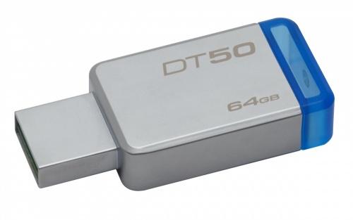 Memoria USB Kingston DataTraveler 50, 64GB, USB 3.0, Plata/Azul