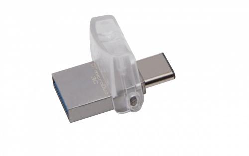 Memoria USB Kingston DataTraveler microDuo 3C, 64GB, USB 3.1/micro-USB, Lectura 100MB/s, Escritura 10MB/s, Plata