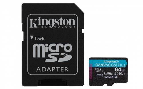 Memoria Flash Kingston Canvas Go! Plus, 64GB MicroSD UHS-I Clase 10, con Adaptador