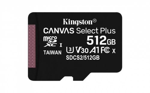 Memoria Flash Kingston Canvas Select Plus, 512GB MicroSDXC UHS-I Clase 10, con Adaptador