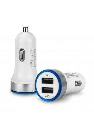 Klip Xtreme Cargador USB Doble para Auto KMA-105, USB 2.0, 2100mA, Blanco