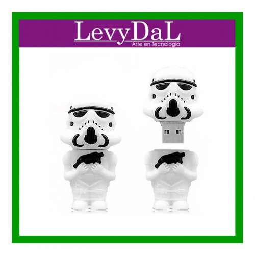 Memoria USB LevyDal Stormtrooper, 16GB, USB 2.0, Blanco
