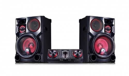 LG CJ98 Minicomponente, Bluetooth, 3500W RMS, USB 2.0, Karaoke, Negro/Rojo