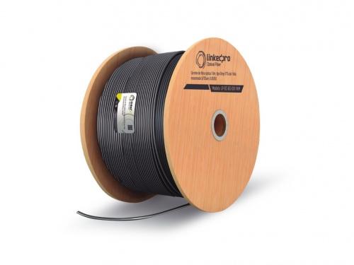 LinkedPRO Bobina de Cable Fibra Óptica de 1 Hilo, Monomodo, 9/125um, 1000 Metros, Negro