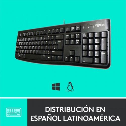 Teclado Logitech K120, USB, Alámbrico, Negro (Español)