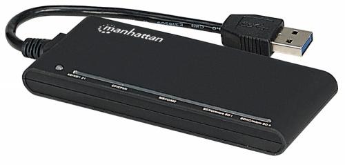 Manhattan Lector de Memoria 101653, 62 en 1, USB 3.0, Negro