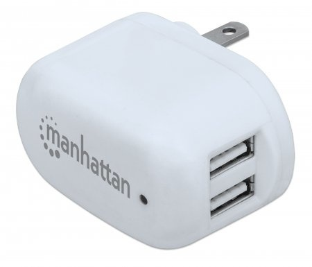 Cargador de Pared Manhattan, 5V, 2x USB, Blanco