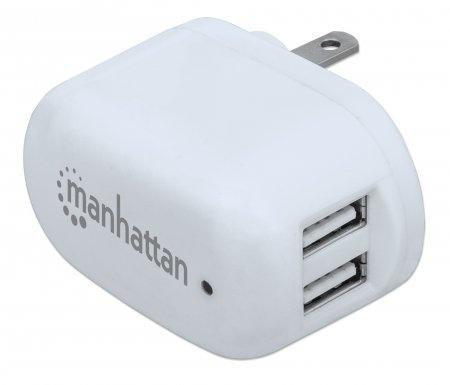 Cargador de Pared Manhattan, 5V, 2x USB, Blanco