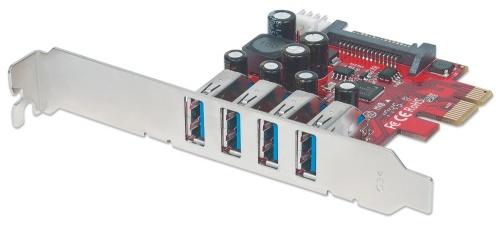 Manhattan Tarjeta PCI Express 152884, Alámbrico, 4x USB, 5Gbit/s