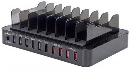 Manhattan Estación de Carga 180009, 10x USB 2.0, Negro