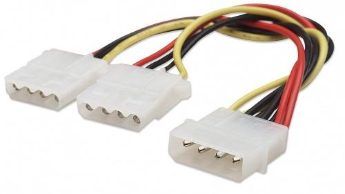 Manhattan Cable 4 Pin Molex Macho - 2 x 4-pin Molex Hembra, 20cm