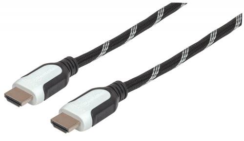 Manhattan Cable HDMI Macho - HDMI Macho, 5 Metros, Negro/Blanco