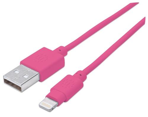 Manhattan Cable iLynk USB A Macho - Lightning Macho, 1 Metro, Rosa