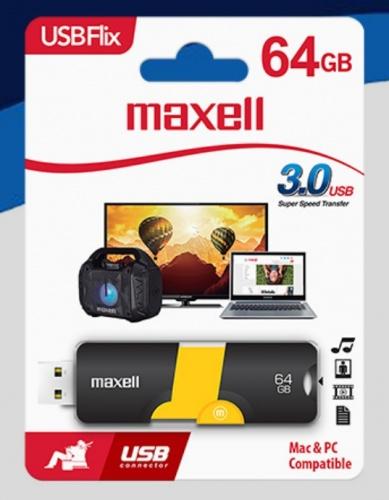 Memoria USB Maxell, 64GB, USB 3.0, Negro/Amarillo