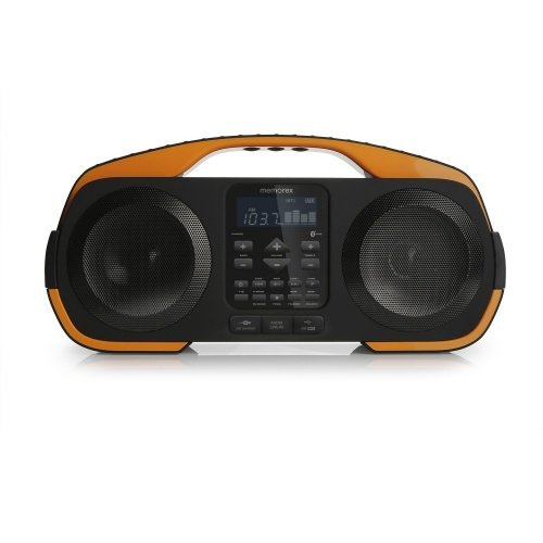 Memorex Bocina Portátil MW5552, Bluetooth, Alámbrico/Inalámbrico, 2.0, USB 2.0, Negro/Narajna - Resistente al Agua