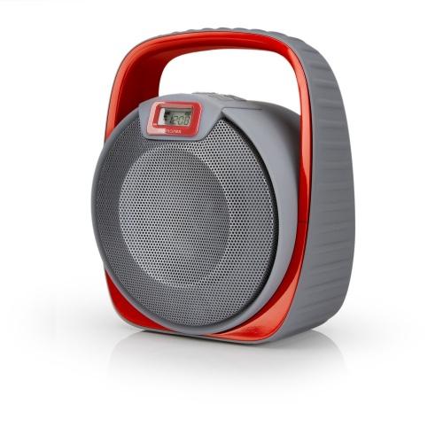 Memorex Bocina Portátil MW601, Bluetooth, Inalámbrico/Alámbrico, USB, Gris/Rojo