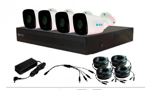 Meriva Technology Kit de Vigilancia de 4 Cámaras CCTV Bullet y 4 Canales, con Grabadora DVR