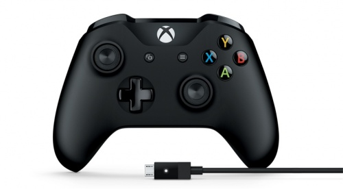 Microsoft Gamepad para Xbox One, Alámbrico/Inalámbrico, Negro