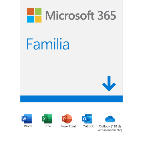Microsoft 365 Familia, 32/64-bit, 5 Dispositivos, 6 Usuarios, Plurilingüe, Windows/Mac/Android/iOS ― Producto Digital Descargable