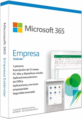 Microsoft 365 Empresa Estándar, 64-bit, 1 Usuario, 5 Dispositivos, Español, Windows/Mac