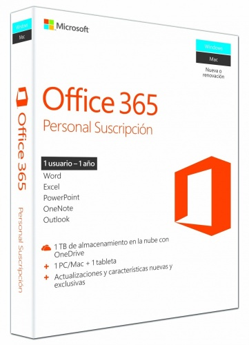Microsoft Office 365 Personal Español, 32/64-bit, 1 Usuario, 1 Dispositivo, 1 Año, para Windows/Mac