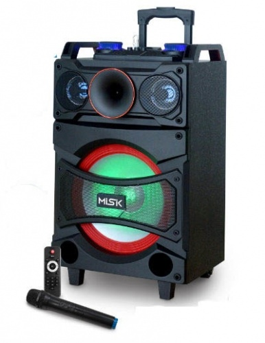 Misik Bafle MB2812, Bluetooth, Inalámbrico, 4.0, 4000W PMPO, USB, Negro
