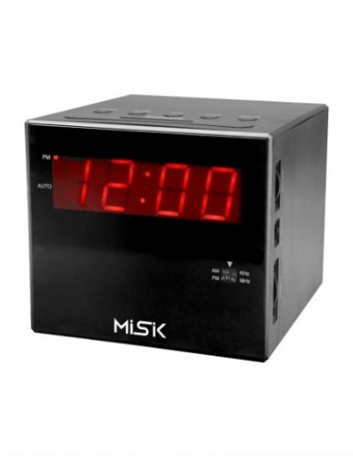 Misik Radio Despertador MR-420, AM/FM, Negro